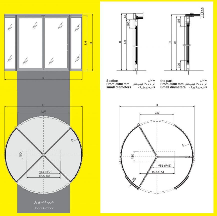 درب های اتوماتیک گـردان 3 و 4 باله تمام شیشه (ریولدینگ) 5